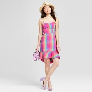 [a new day] Bright Plaid Sun Dress - NWT